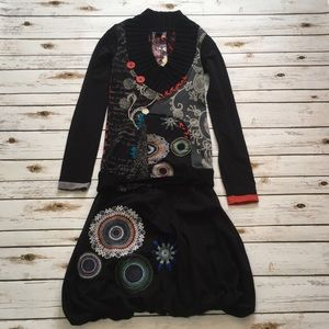 Desigual Black Red Blue Print Texture Dress Size S